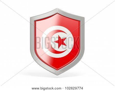 Shield Icon With Flag Of Tunisia