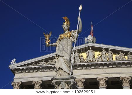 Statue Of Pallas Athena, Goddess Of Wisdom, Standing In Front Of The Austrian Parliament Building In