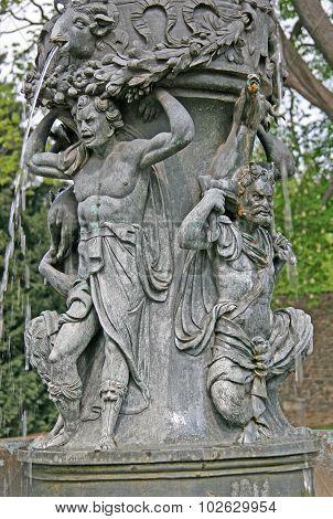 Zpivajici Fontana, The Singing Fountain In Kralovska Zahrada The Royal Gardens Park In Hradcany, Pra
