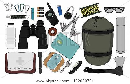 Survival items set. Color