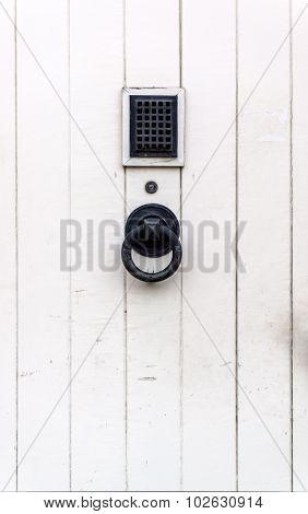 Wooden White Door With Black Metal Handle