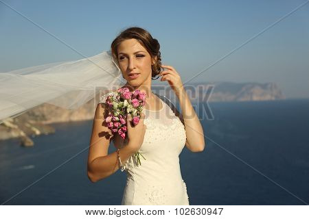 beautiful bride on coast