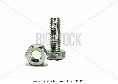 Nut and bolt on white background