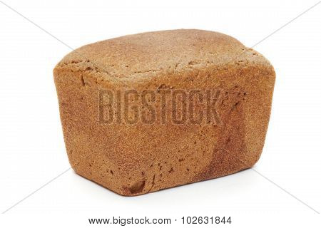 The loaf of bread is isolated on a white background