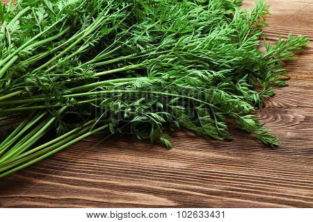 Green tops of organic carrots on wooden table, closeup