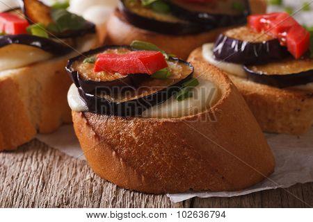 Crostini With Aubergine, Tomato And Mozzarella Macro. Horizontal