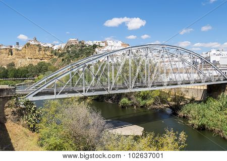 View Of Arcos De La Frontera From The River, Spain