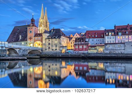 Historical Stone Bridge And Bridge Tower In Regensburg