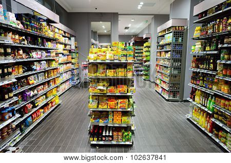 PARIS - AUGUST 09, 2015: Paris food store interior. Paris is home to numerous fine food stores and quality local shops