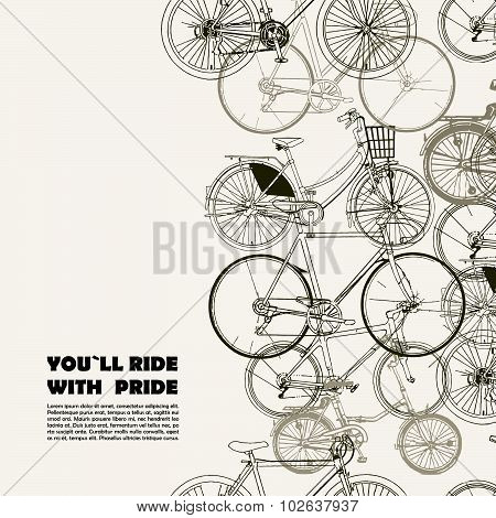 Creative poster with various bikes and space for your text