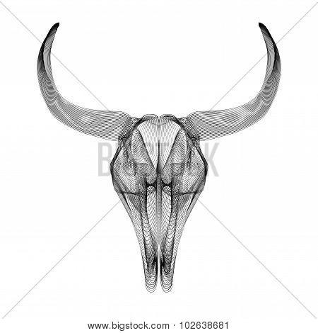 Bull skull. 3d style vector illustration for prints or t-shirt.