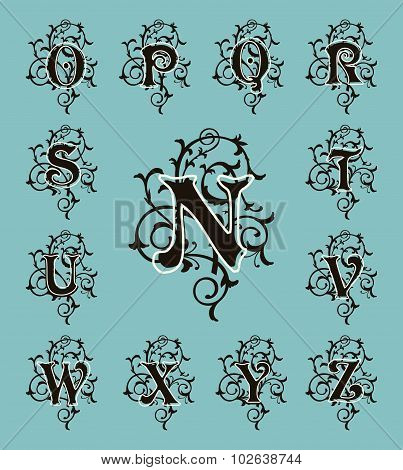 Vintage set capital letters, floral Monograms and filigree font.