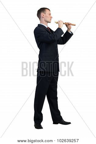 Businessman play fife