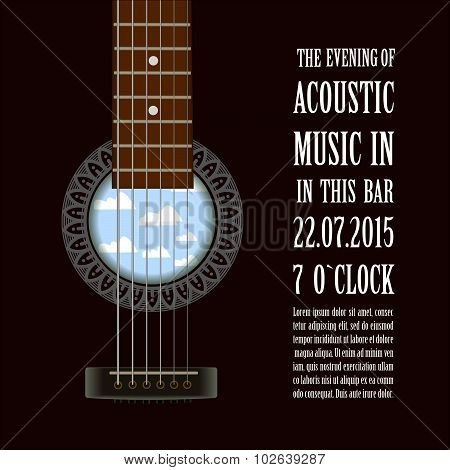 Music concert show  poster with acoustic guitar . Vector