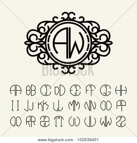 Set  template to create monograms of two letters