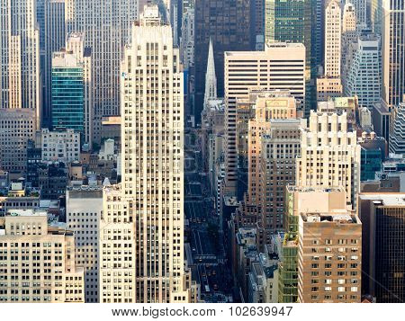 Aerial view of New York City with a view of Saint Patricks Church and the skyscrapers along Fifth Avenue