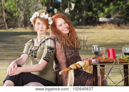 Pair Of Smiling Pagan Women