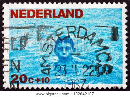 Postage Stamp Netherlands 1966 Boy Swimming
