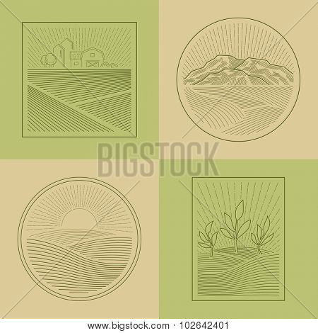 Agriculture Fields Farmland Line Style Design Elements