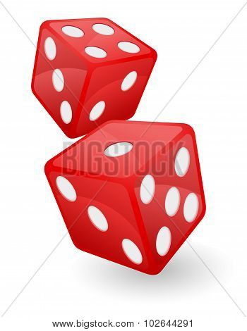 Red Casino Dice Vector Illustration