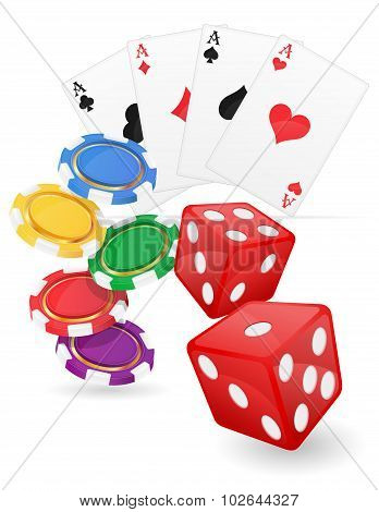 Casino Items Ace And Chips Dice Vector Illustration