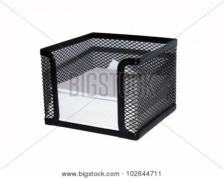 office tool - sticky notes in a black basket, isolated on white background