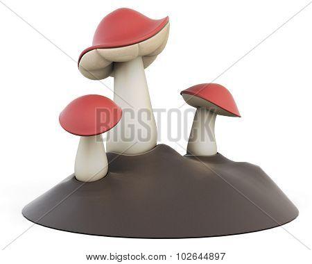 Cartoon Three Edible Mushrooms