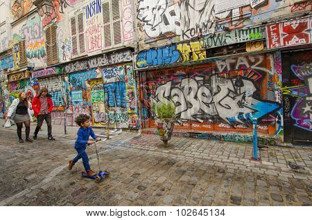 Dazzling street art on Rue Denoyez in Paris