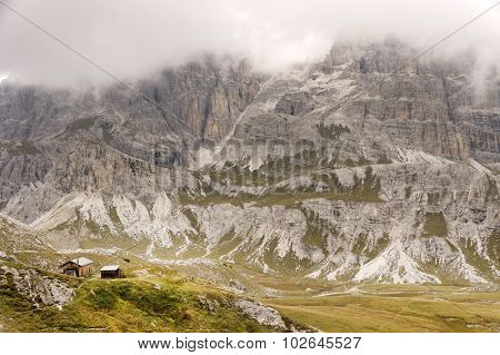 Cloudy landscape in the Dolomites, Italy, Europe