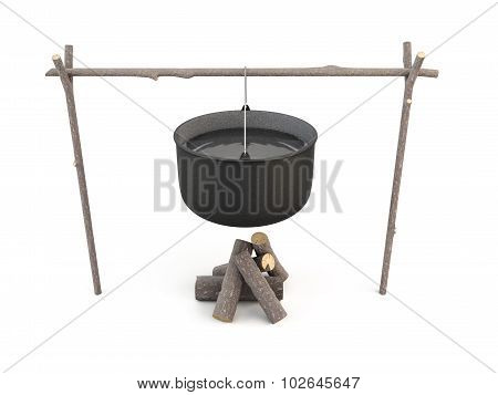 3D Illustration Pot Camping Ready To Cook