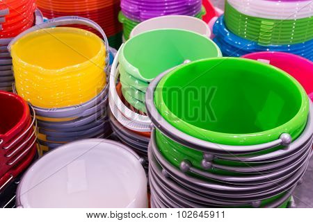 stack of plastic bucket