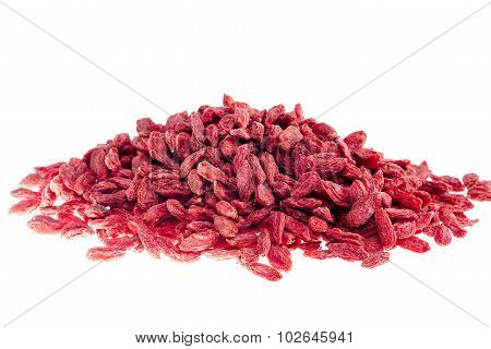 A Lot Of Of Red Goji Berry  On White Background Close Up