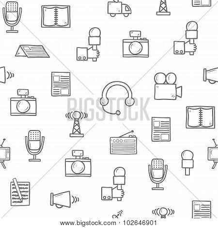 Seamless background on journalism theme with hand drawn objects: camera, newspaper, microphone, radi