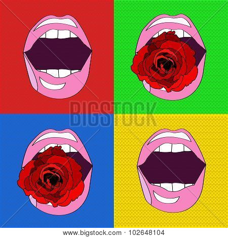 Sexy Pink Lips , In The Style Of Pop-art