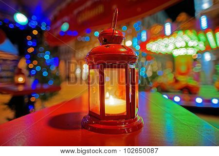 Decorative Lantern With Votive Candle At The European Christmas Market In Livu Square