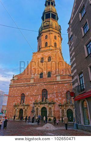St. Peter's Church In The Old Town Of Riga