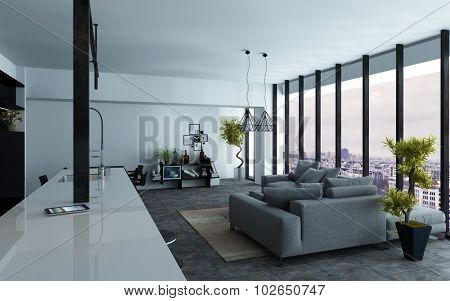 Large open-plan living room interior with panoramic view windows and grey and white decor, view down the length of the room, 3d rendering