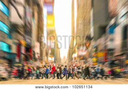 Melting Pot People Walking On Zebra Crossing And Traffic Jam In New York Manhattan At Sunset