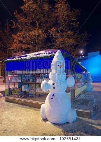 Snowman Figures At The Desrted Christmas Market