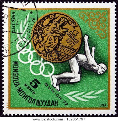 Postage Stamp Mongolia 1972 Mark Spitz, Us