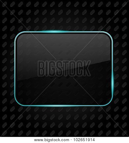 Transparent frame with reflection on aluminum background