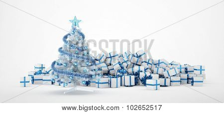 Pile of white and blue christmas presents and christmas tree isolated on white background. Concept image for christmas (x-mas) or weddings. 3d Rendering.