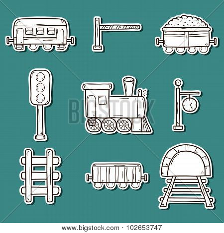 Set of hand drawn railroad stickers: wagons, semaphore, railway station clock, locomotive, barrier,