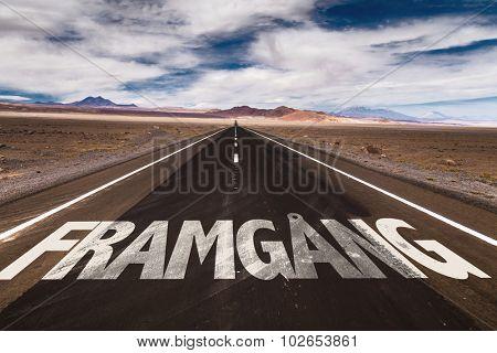 Progress (in Swedish) written on desert road