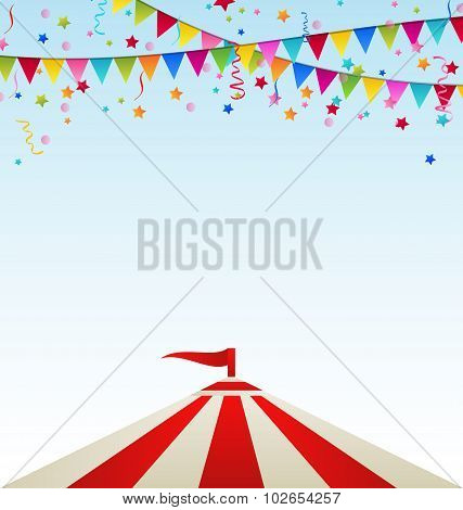 Circus striped tent with flags