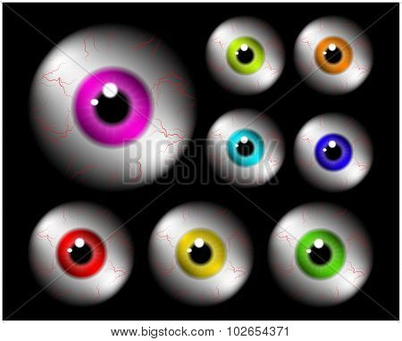 Set Of Realistic Human Eye Ball With Colorful Pupil, Iris. Vector Illustration Isolated On Black Bac
