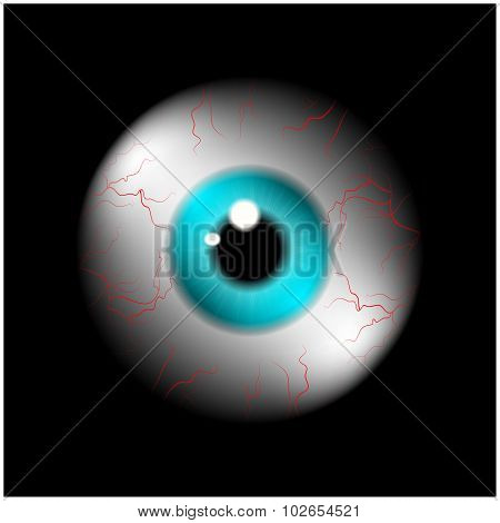Image Of Realistic Human Eye Ball With Blue Pupil, Iris. Vector Illustration Isolated On Black Backg
