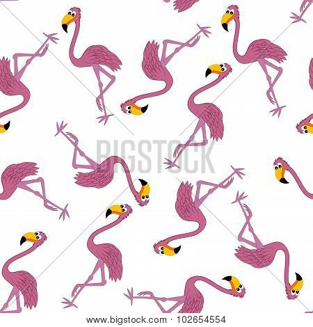 Seamless Funny Cartoon Flamingo