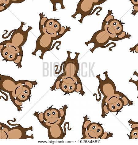 Seamless Funny Cartoon Monkey