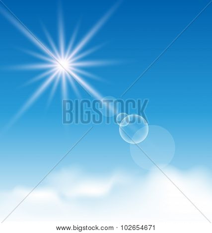 Blue sky with sunlight and clouds